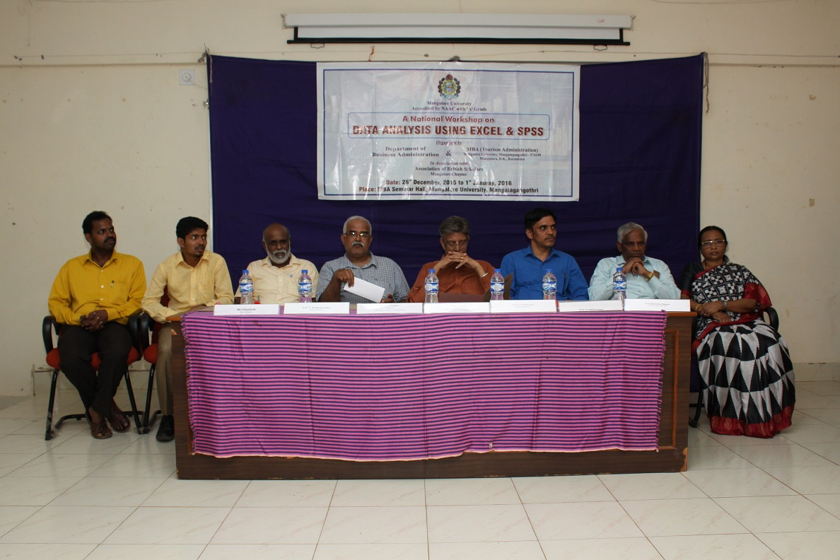 A National Workshop on Data Analysis Using Excel & SPSS